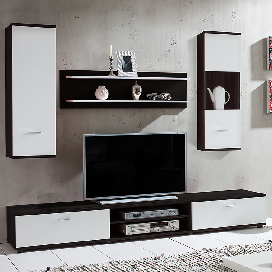 wohnwand grinda 4 teilig schwarz wei home24. Black Bedroom Furniture Sets. Home Design Ideas