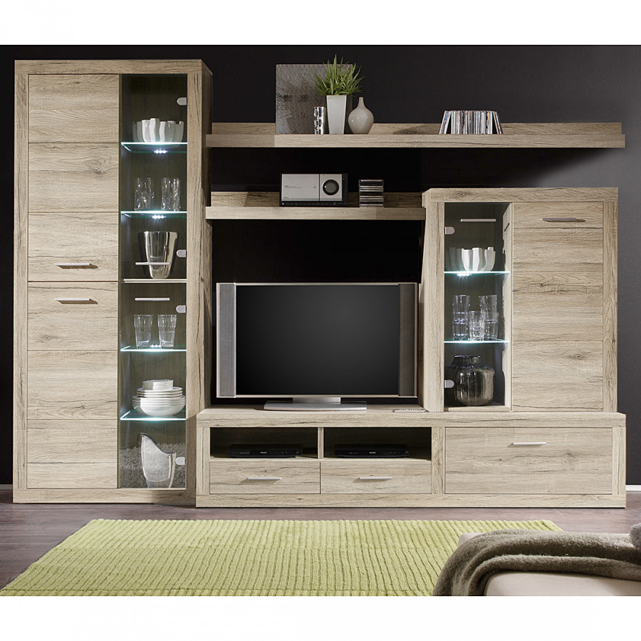 wohnwand justin 5 teilig inklusive beleuchtung home24. Black Bedroom Furniture Sets. Home Design Ideas