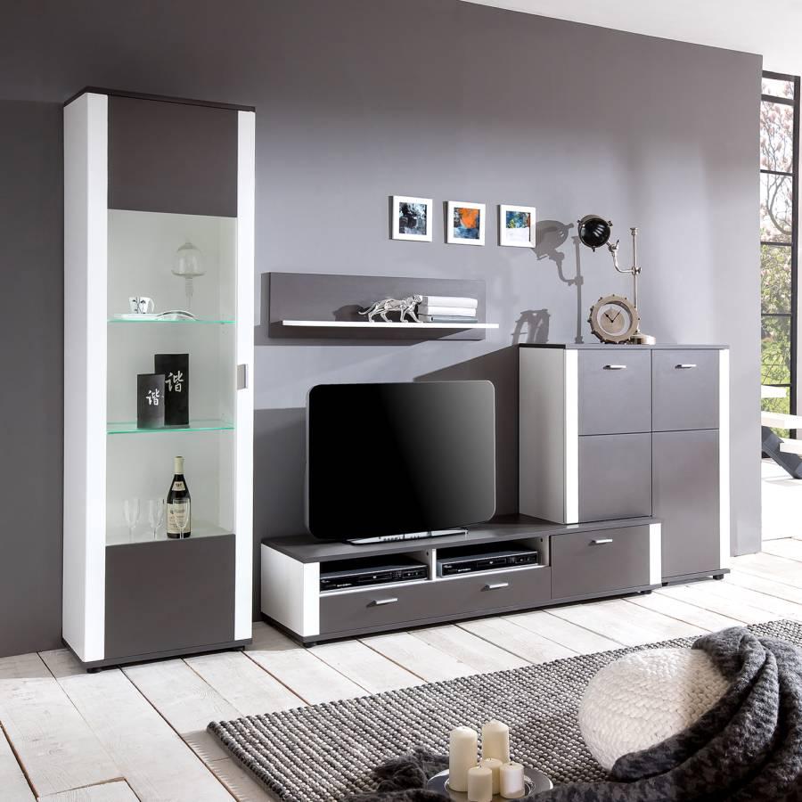 wohnwand liebenwalde 4 teilig anthrazit wei. Black Bedroom Furniture Sets. Home Design Ideas