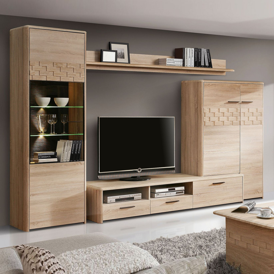 wohnwand marinello i 4 teilig inkl beleuchtung home24. Black Bedroom Furniture Sets. Home Design Ideas