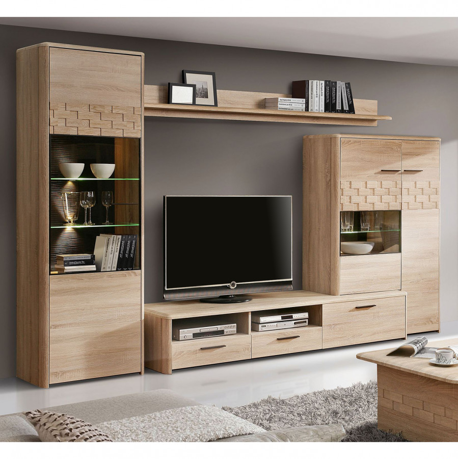 wohnwand marinello ii 4 teilig inkl beleuchtung eiche sonoma dekor dunkelbraun home24. Black Bedroom Furniture Sets. Home Design Ideas