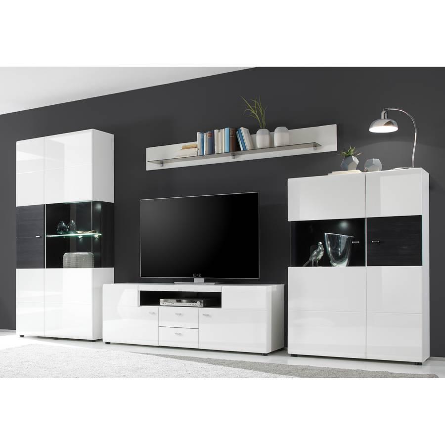 wohnwand matane 3 teilig hochglanz wei schwarz home24. Black Bedroom Furniture Sets. Home Design Ideas