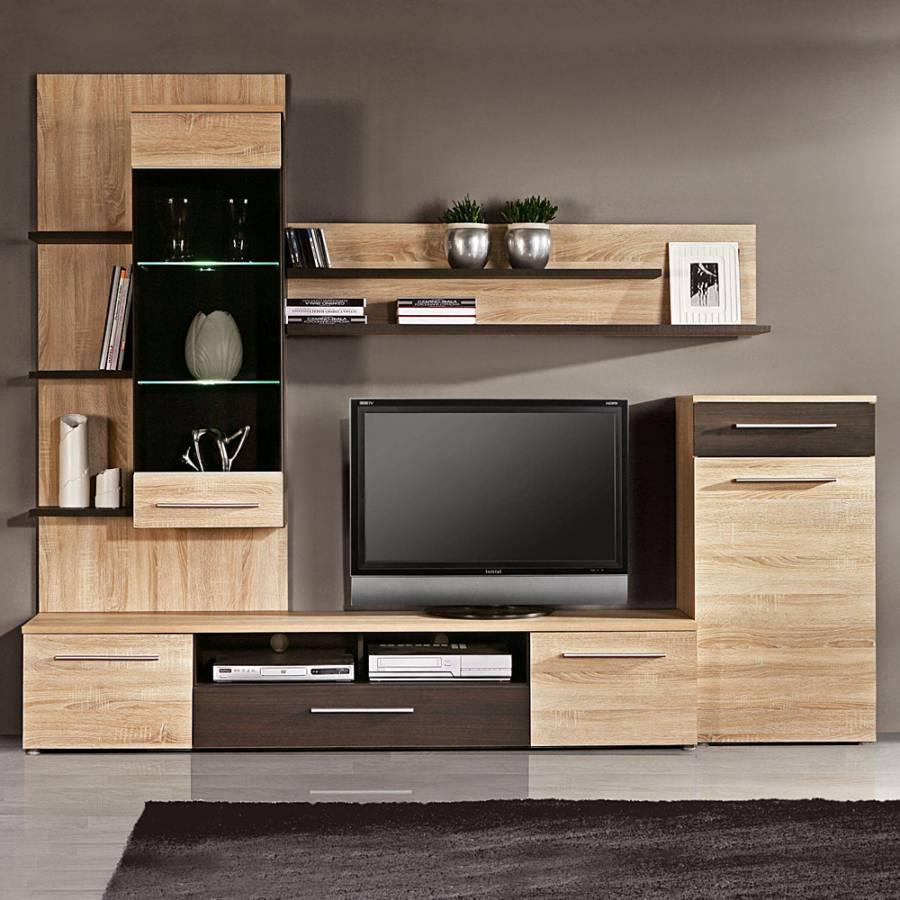 wohnwand osmani sonoma eiche denver eiche dekor home24. Black Bedroom Furniture Sets. Home Design Ideas