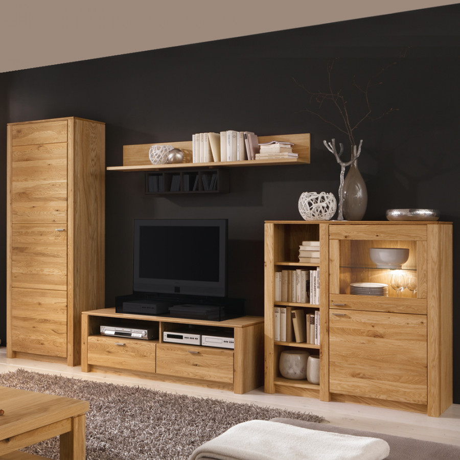 wohnwand paradise eiche home24. Black Bedroom Furniture Sets. Home Design Ideas
