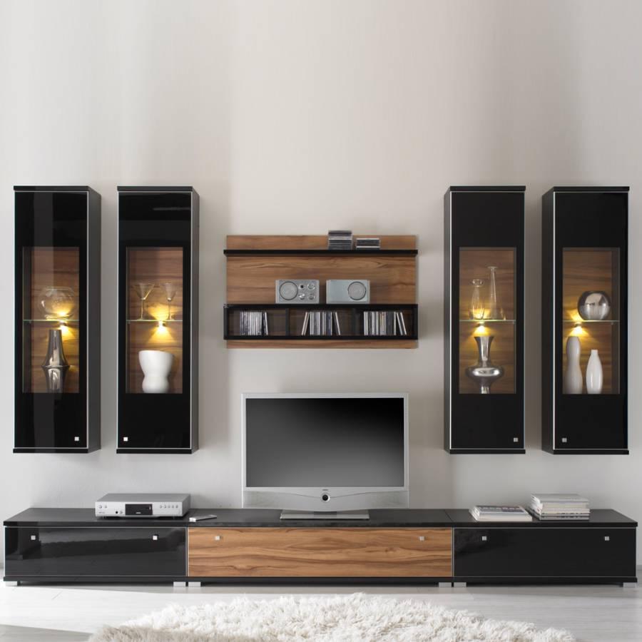 wohnwand pirlo nussbaum dekor hochglanz schwarz home24. Black Bedroom Furniture Sets. Home Design Ideas