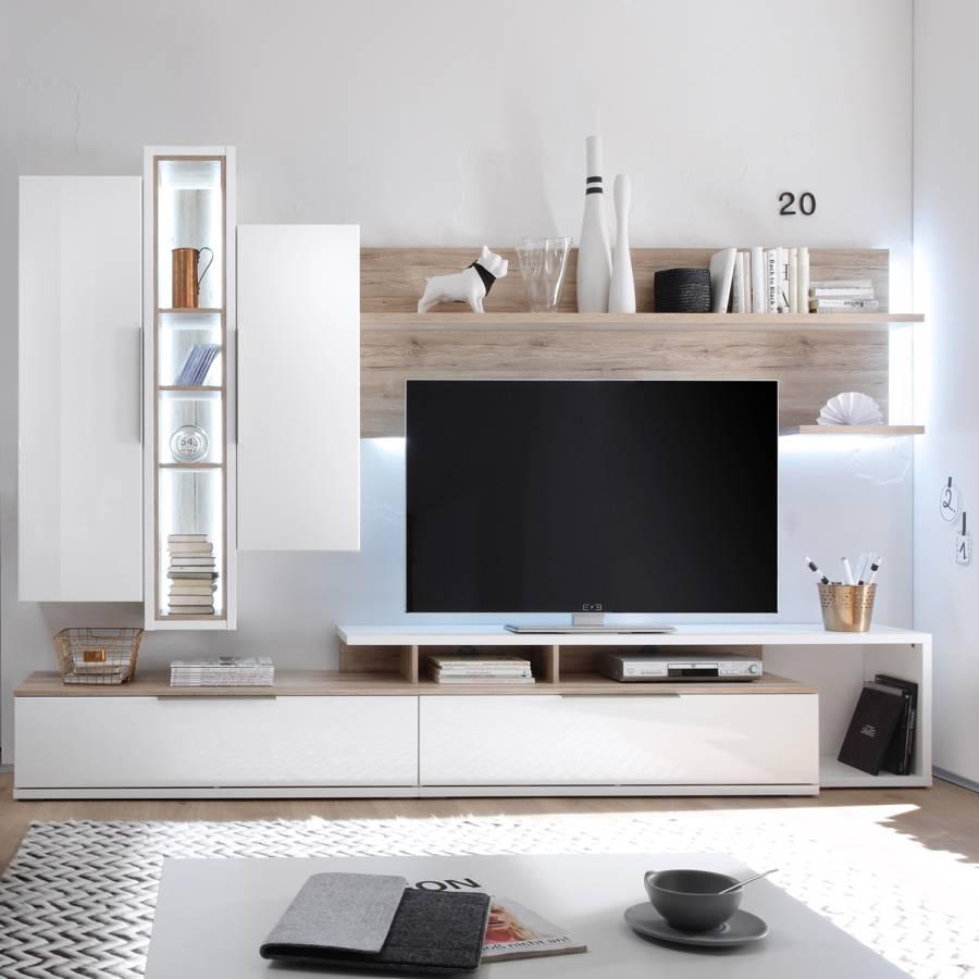 wohnwand salandra 5 teilig hochglanz wei eiche. Black Bedroom Furniture Sets. Home Design Ideas