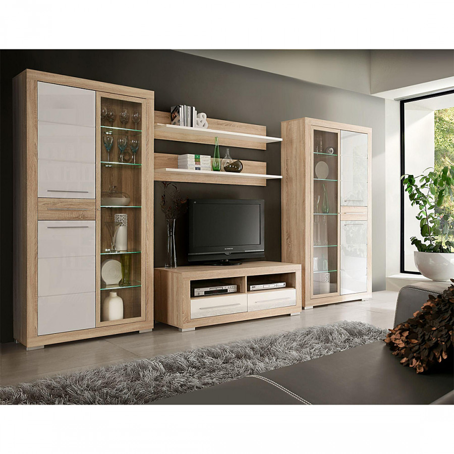 wohnwand straight 5 teilig sonoma eiche dekor kaufen. Black Bedroom Furniture Sets. Home Design Ideas