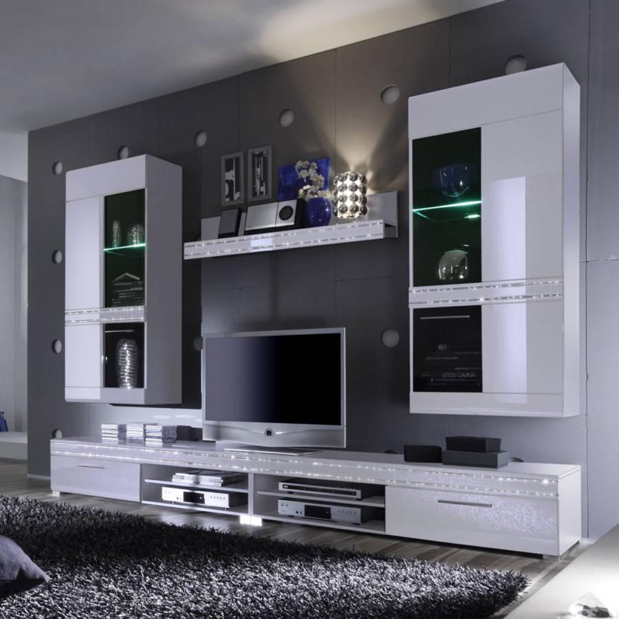 mur tv starlight 5 l ments blanc brillant. Black Bedroom Furniture Sets. Home Design Ideas