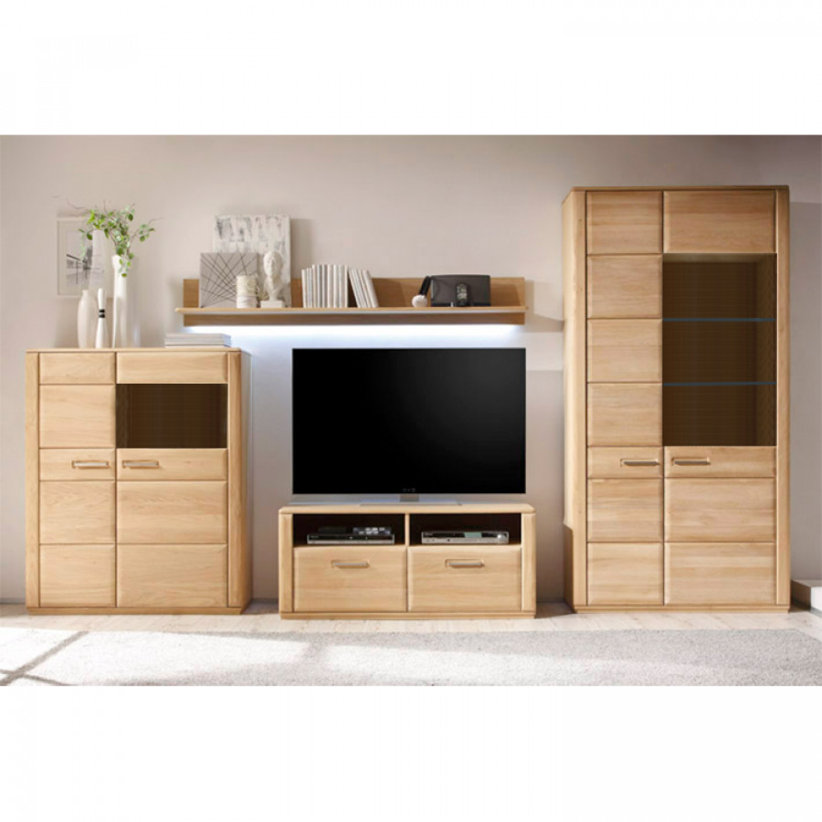 wohnwand structura v 4 teilig eiche bianco teilmassiv. Black Bedroom Furniture Sets. Home Design Ideas