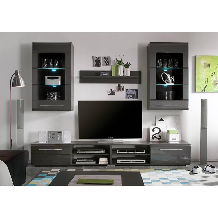 Jetzt bei home24 wohnwand von roomscape home24 for Klebefolie hochglanz grau