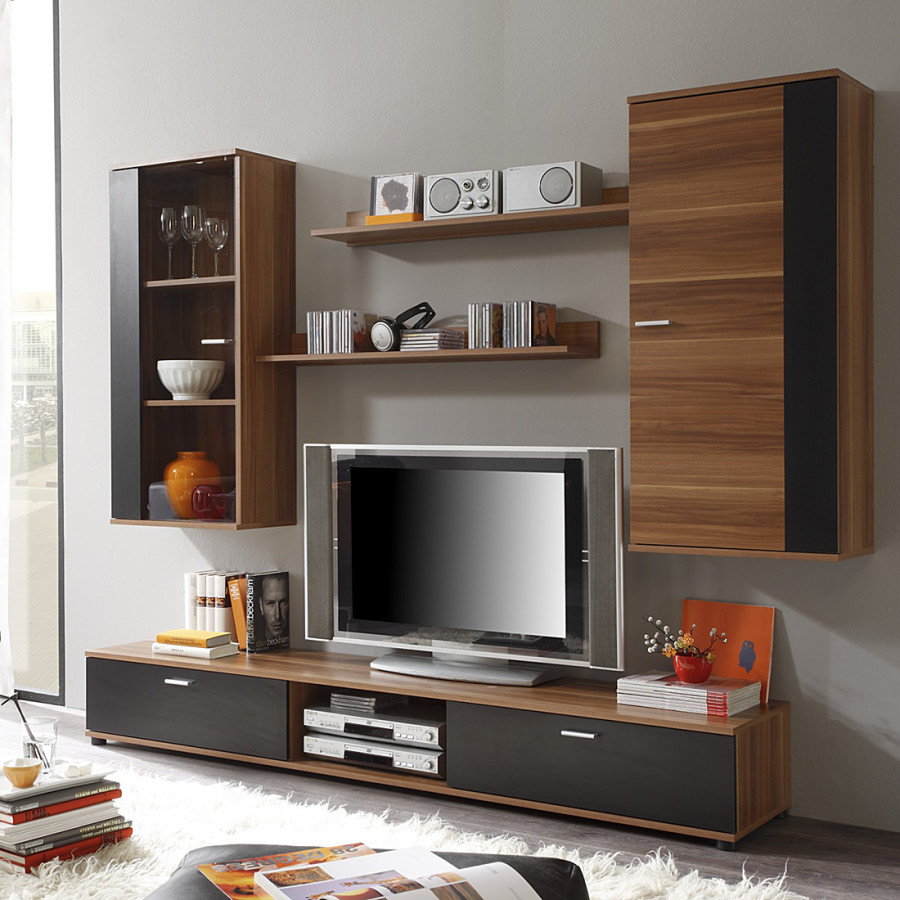 wohnwand top five 5 teilig schwarz nussbaum dekor. Black Bedroom Furniture Sets. Home Design Ideas