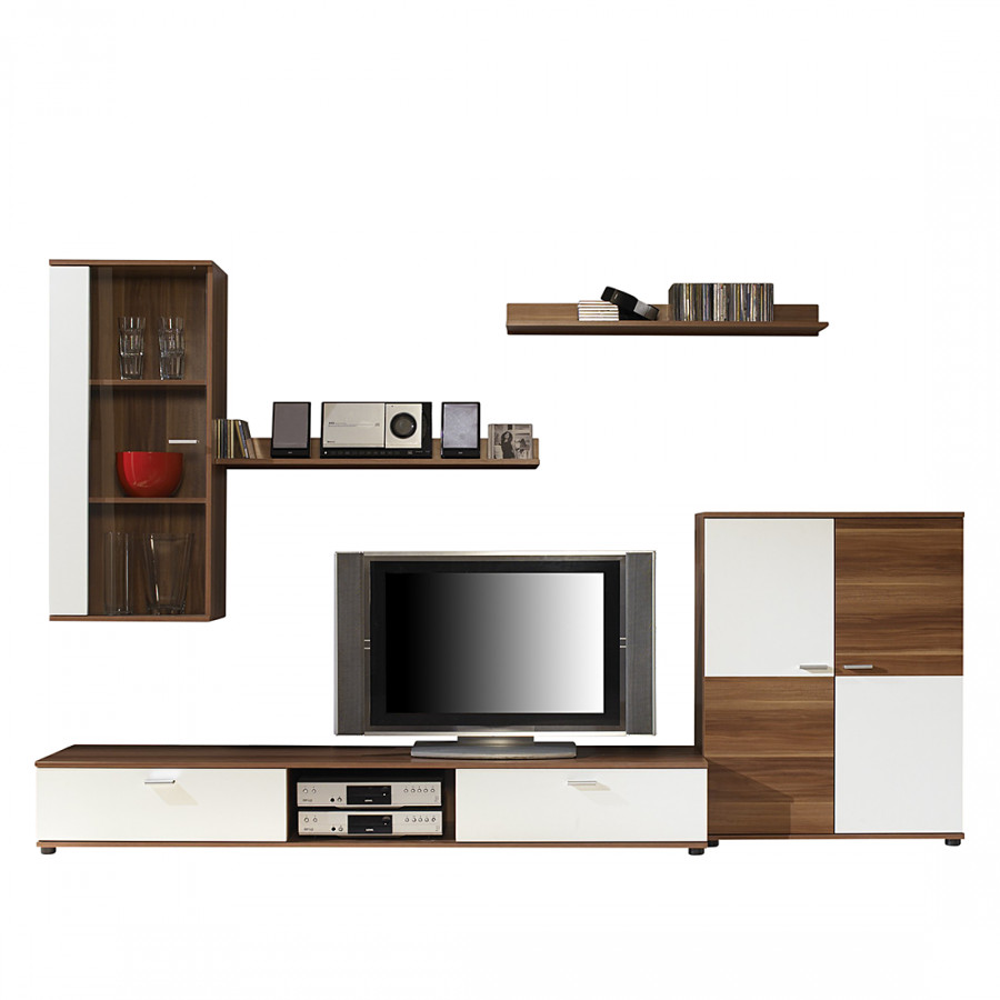 wohnwand top five 5 teilig wei nussbaum kaufen home24. Black Bedroom Furniture Sets. Home Design Ideas
