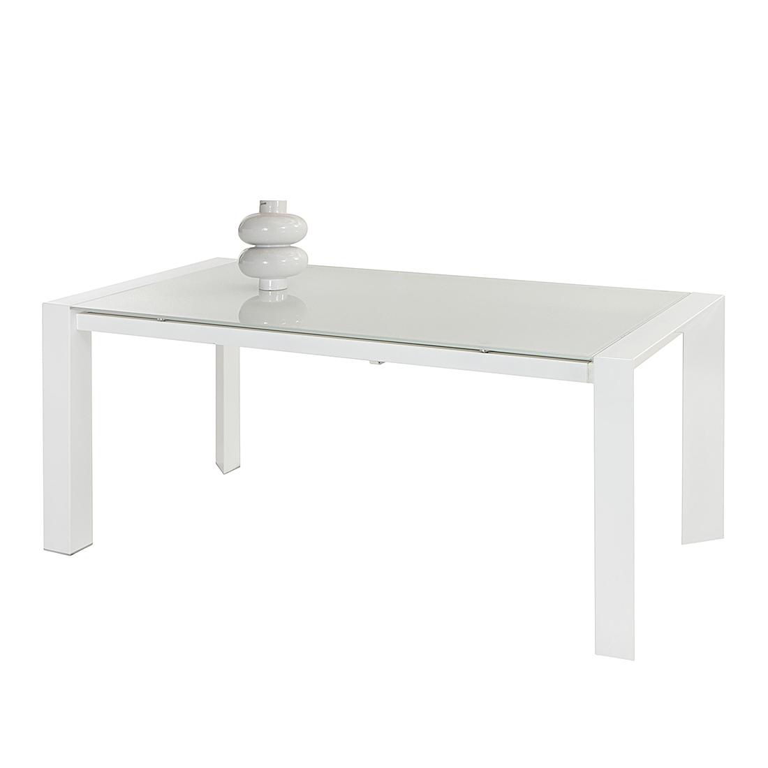 Home Design Eettafel Cosimo - uitschuifbaar - tafelblad van wit glas Home24
