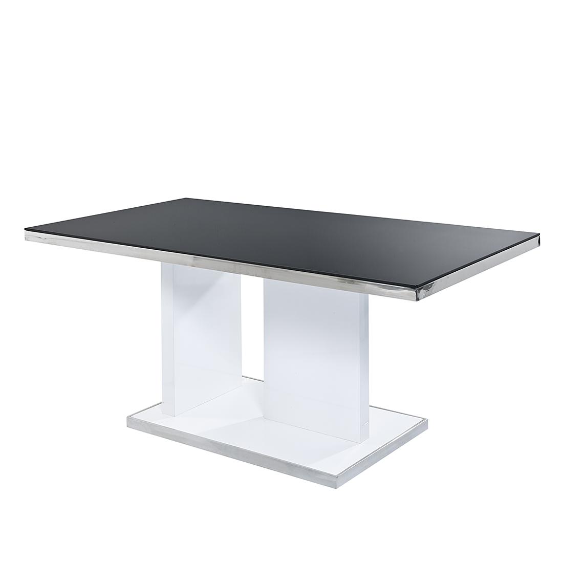 Fredriks Eettafel Gallien - hoogglans wit/zwartglas Home24