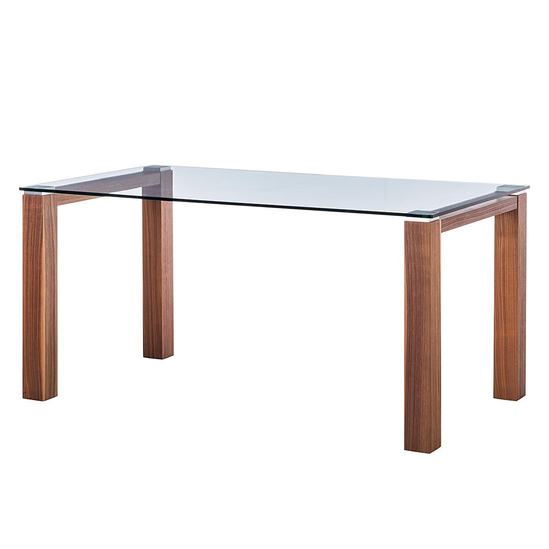 Niehoff Glazen tafel Palma - transparant glas/wild notenboomhout fineer (Afmetingen: 200x100cm) Home24