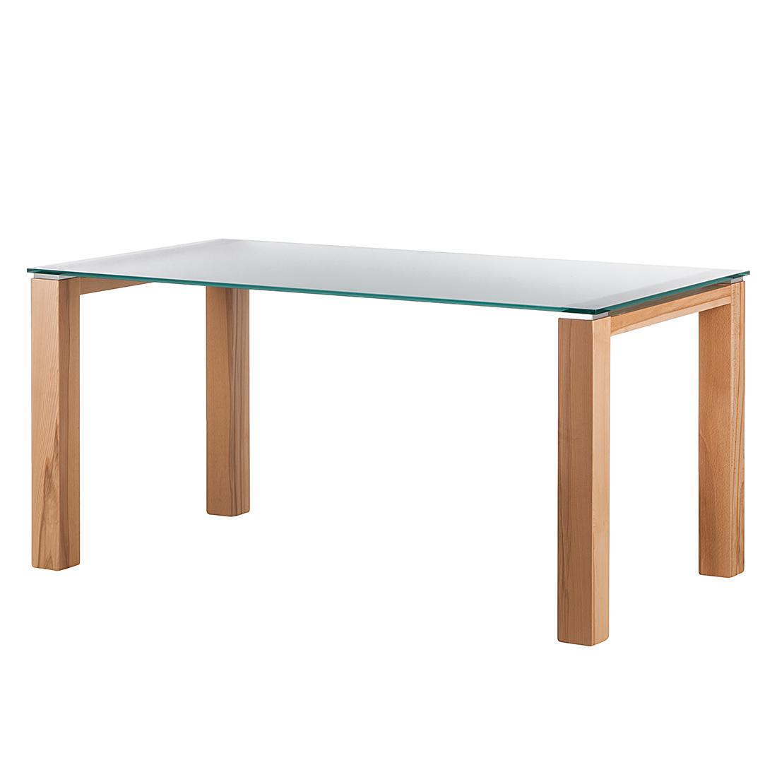 Niehoff Glazen tafel Palma - gesatineerd glas/kernbeukenfineer (Afmetingen: 160x90cm) Home24