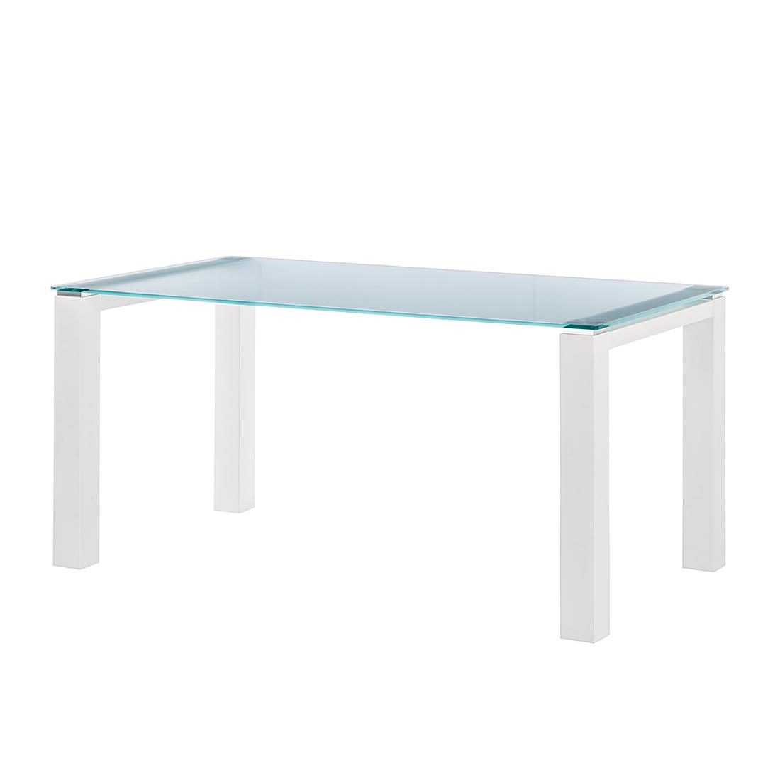 Niehoff Glazen tafel Palma - gesatineerd glas/wit gelakt (Afmetingen: 200x100cm) Home24