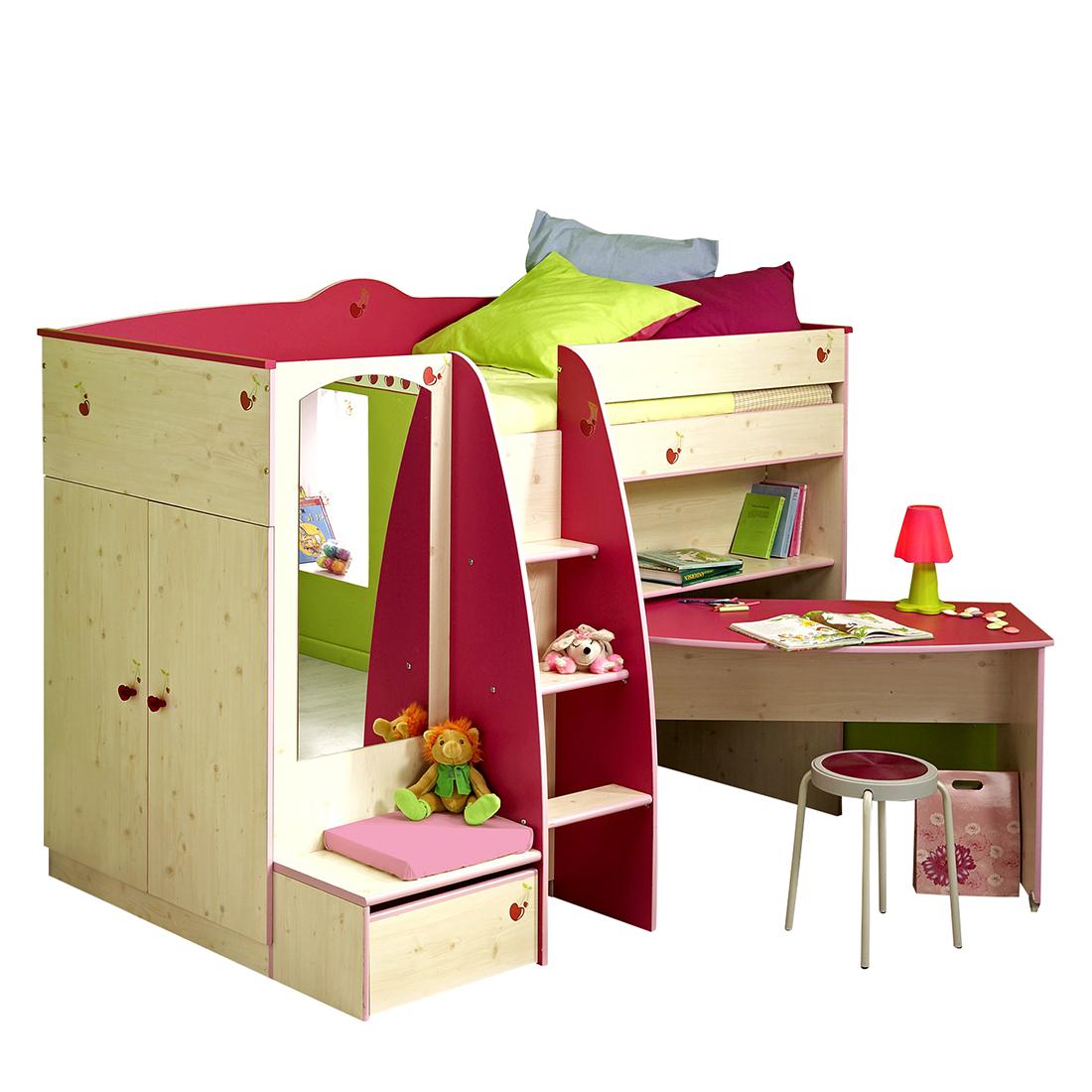 parisot meubles hoogslaper lolita grenenhoutimitatie roze bij woonboulevard xl de mooiste. Black Bedroom Furniture Sets. Home Design Ideas