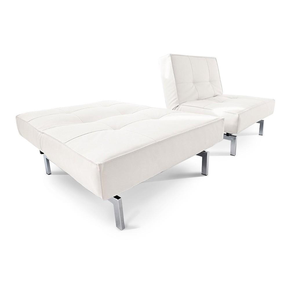 Innovation Splitback stoel - slaapfunctie kunstleer wit Home24