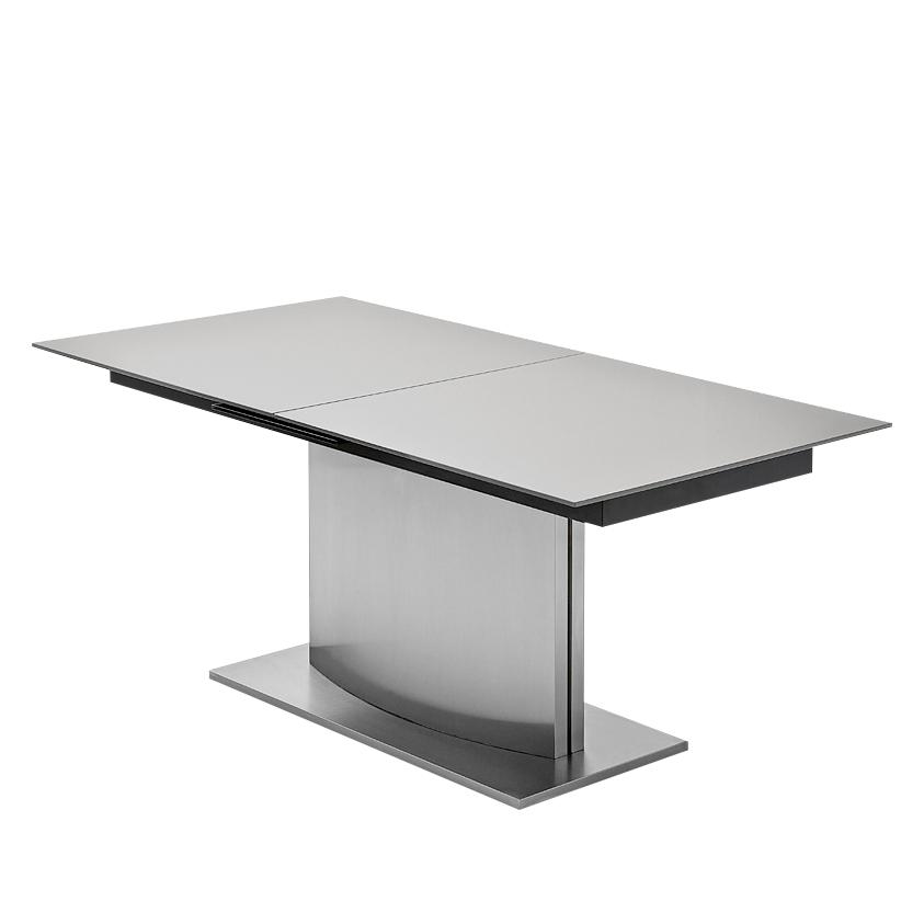 California Tafel Liguria (uitschuifbaar) - glas/roestvrij staal - grijs/zilverkleurig (Afmetingen: 160x90cm) Home24