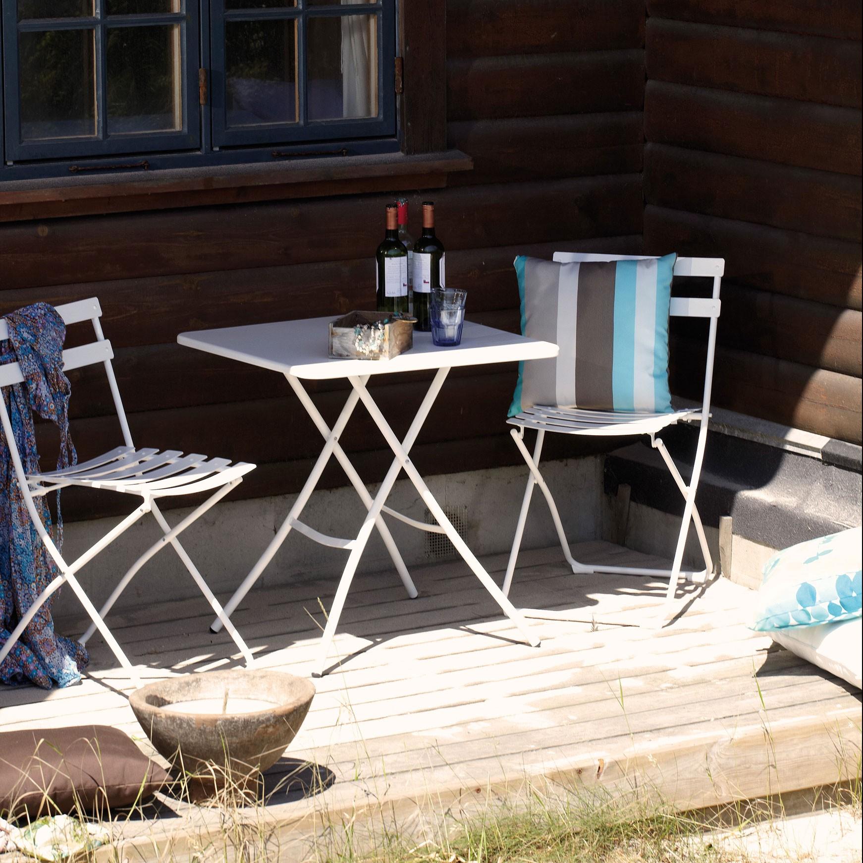 Bistroset Spring Outdoor - 1 Klapptisch & 2 Stühle - Stahlrohrgestell weiß