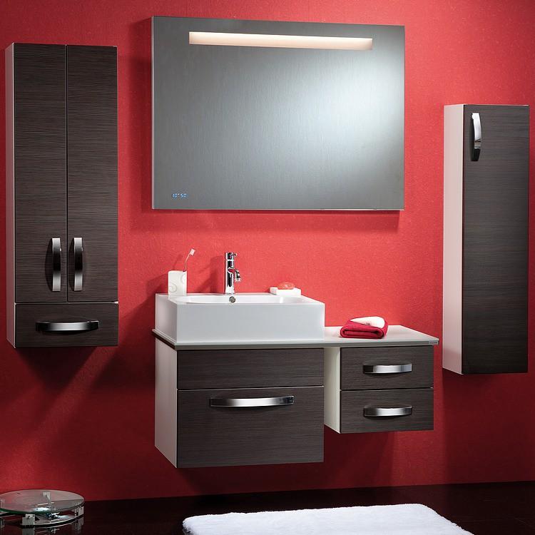 Badezimmer-Set Vanity (5-teilig) - weiß Glanz - versch. Fronten (Vanity Set - 5-teilig - weiß - dunkelbraun)