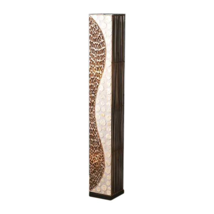 Stehleuchte Abuja ● 2-flammig- handgefertigt ● mit Schnurschalter- geeignet für Energiesparleuchtmittel ● Perlmutt und Bambusringe- Paul Neuhaus A++