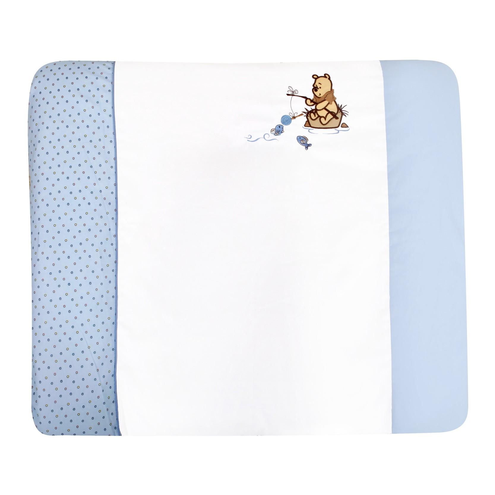 Wickelauflage Adorable Pooh Boy - 100% Baumwolle - Weiß/Blau mit Winnie Pooh Applikation