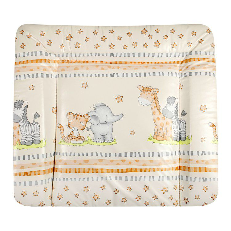 Wickelauflage African Dreams Natur Softy – Beige mit bunten Tiermotiven