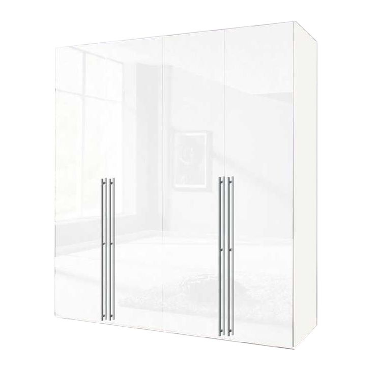Drehtürenschrank Alabama – Polarweiß/Weißlack – Schrankbreite: 200 cm – 4-türig, Solutions günstig kaufen