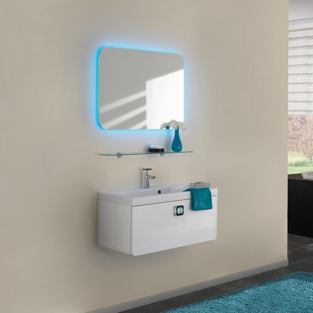Waschplatz Alberta - inklusive RGB-Lichtspiegel - weiß Hochglanz