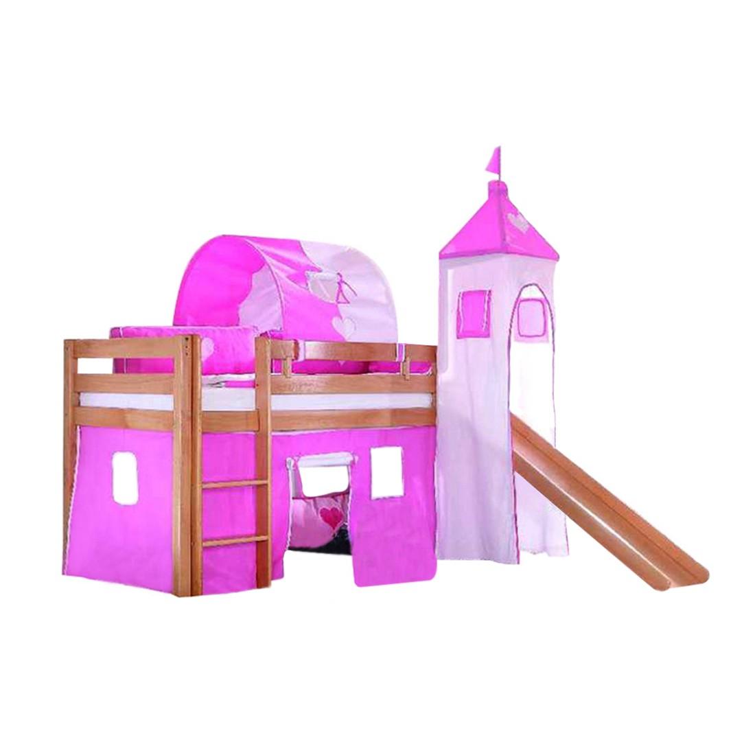 Spielbett Alex – Massivholz Buche – mit Rutsche, Turm und Textilset in Pink/Rosa, Relita online kaufen