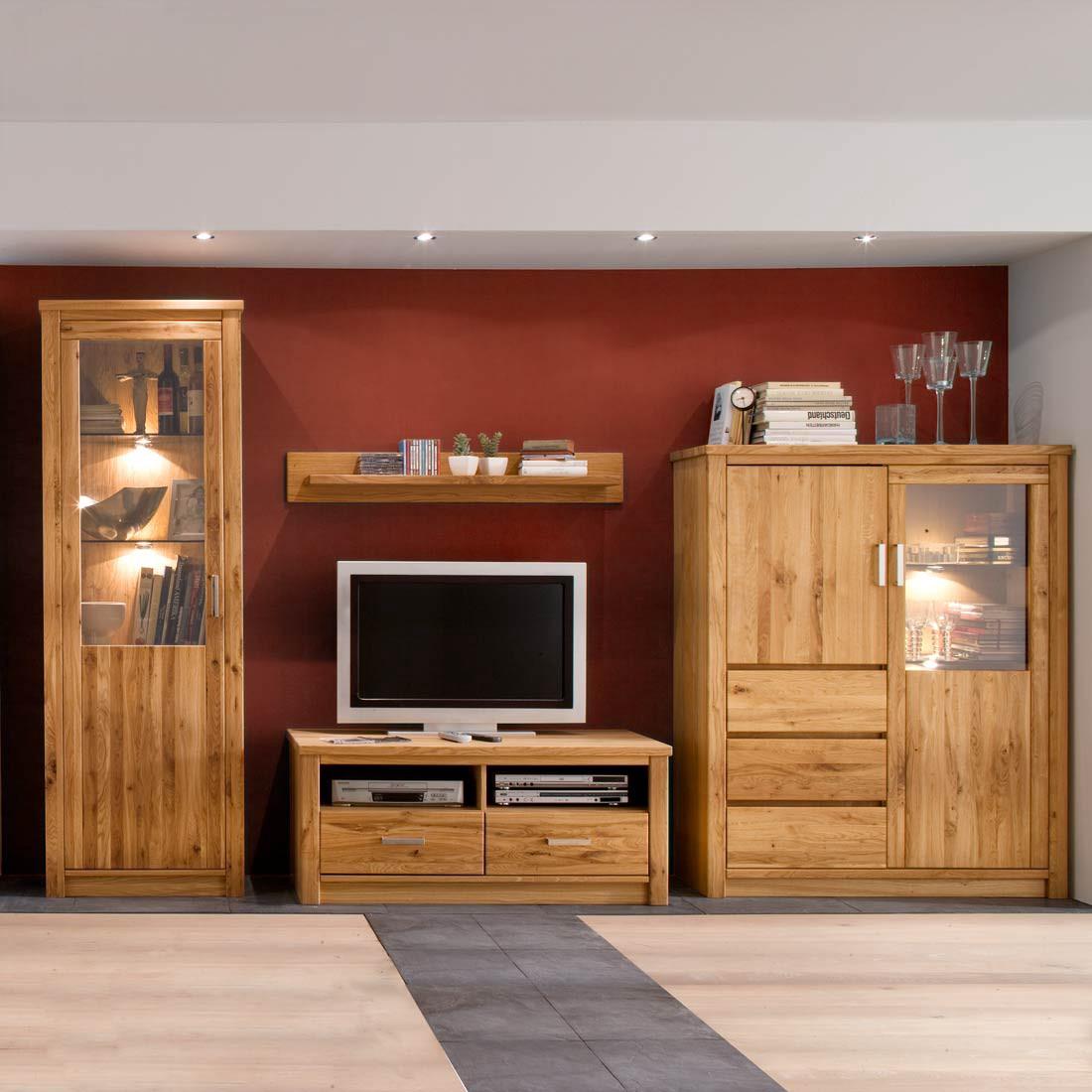 antonia wohnwand asteiche massiv 4 teilig ohne beleuchtung. Black Bedroom Furniture Sets. Home Design Ideas
