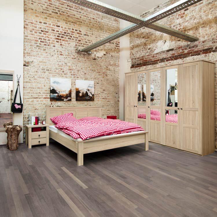 Schlafzimmerset Acasa (4-teilig) - Eiche Dekor (Kleiderschrank mit ...