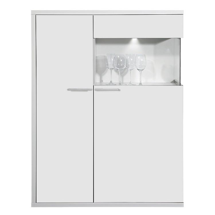Highboard Clip - 1 Vitrinenfach - Weiß (Highboard Clip - dekorativer Ablage rechts/Weiß/Weiß)