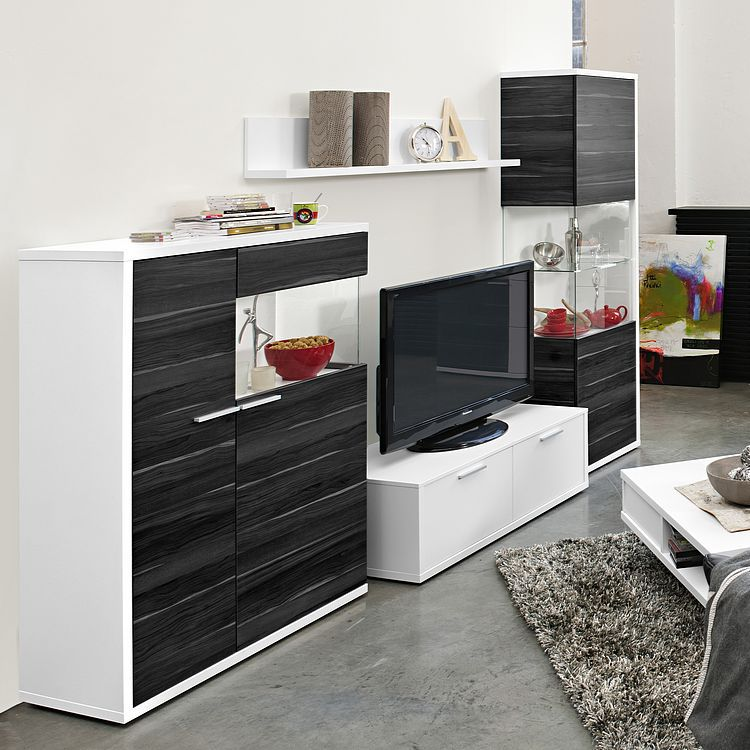 wohnwand clip 2 4 teilig wei nussbaum dekor grau. Black Bedroom Furniture Sets. Home Design Ideas