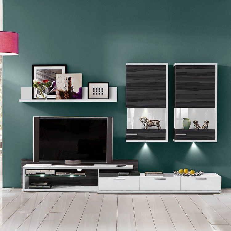 wohnwand clip 5 teilig wei nussbaum dekor grau wohnwand 5 clip wei wei nussbaum grau. Black Bedroom Furniture Sets. Home Design Ideas