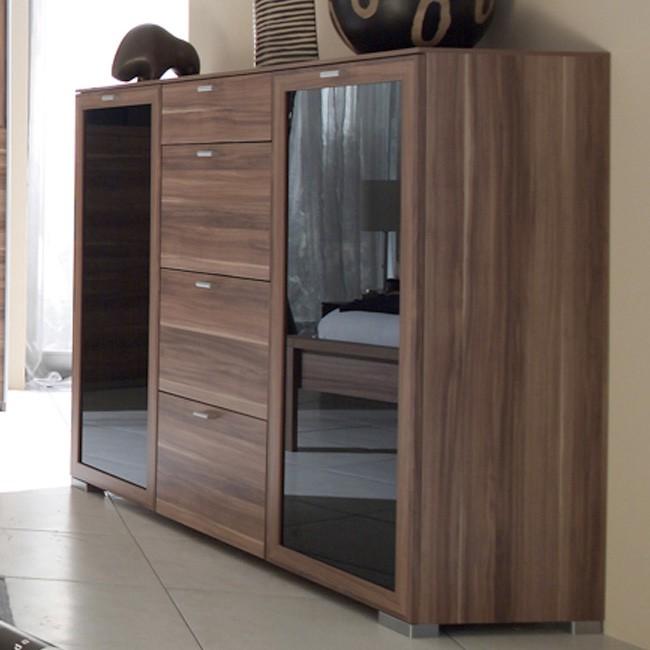Nussbaum schwarz latest amazing great sideboard nussbaum schwarz hochglanz mit vier tren - Pc schranke wohnzimmer ...