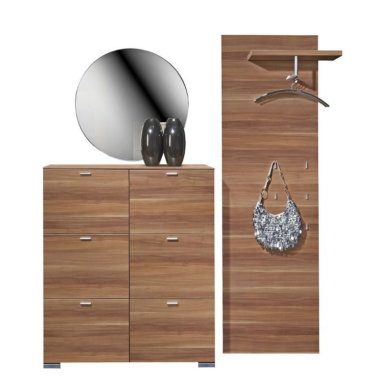 garderobe set spiegel schuhschrank paneel nussbaum. Black Bedroom Furniture Sets. Home Design Ideas