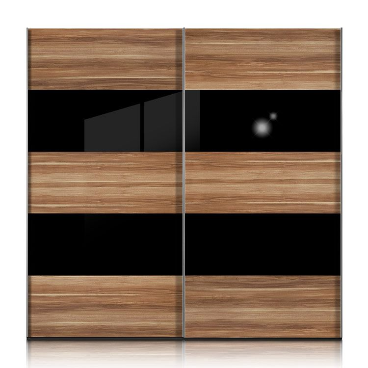 schwebet renschrank inline nussbaum glas schwarz breite 252 cm. Black Bedroom Furniture Sets. Home Design Ideas