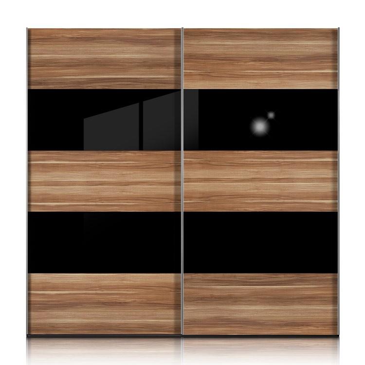 schwebet renschrank inline nussbaum glas schwarz breite 252 cm. Black Bedroom Furniture Sets. Home Design Ideas