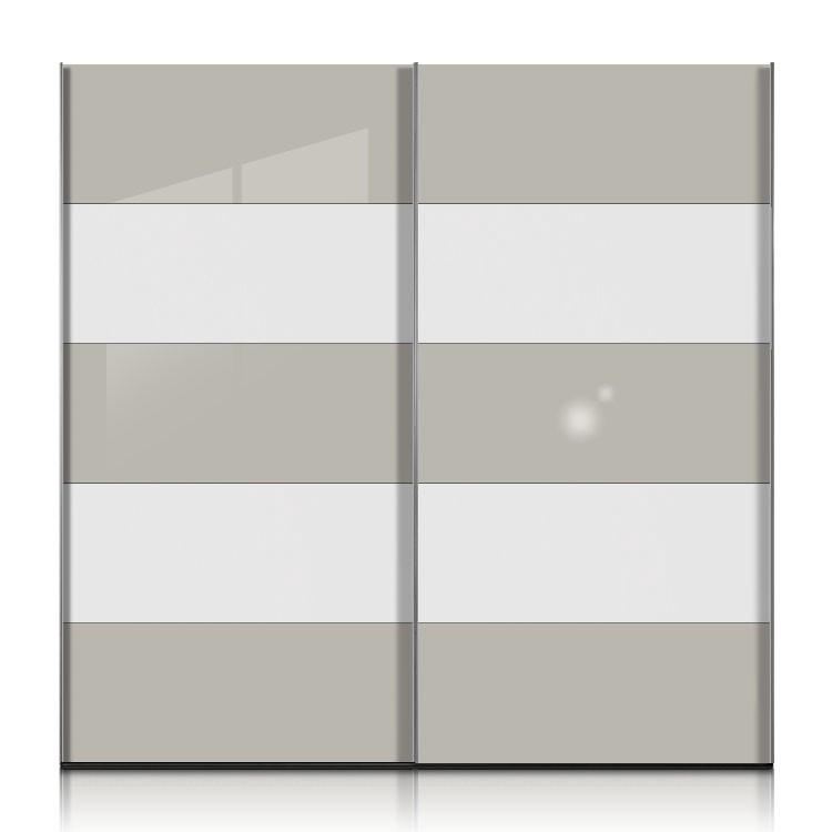 Kleiderschrank Inline Korpus Front Weiss 6 X Glas Steingrau 252cm