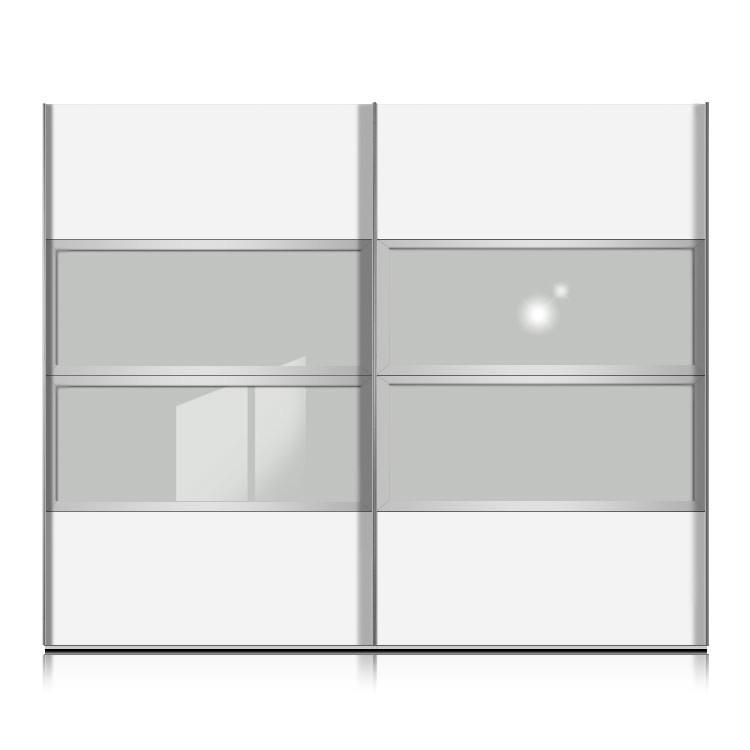 schwebet renschrank kick weiss floatsicherheitsglas rahmen silber breite 252 cm schrank. Black Bedroom Furniture Sets. Home Design Ideas