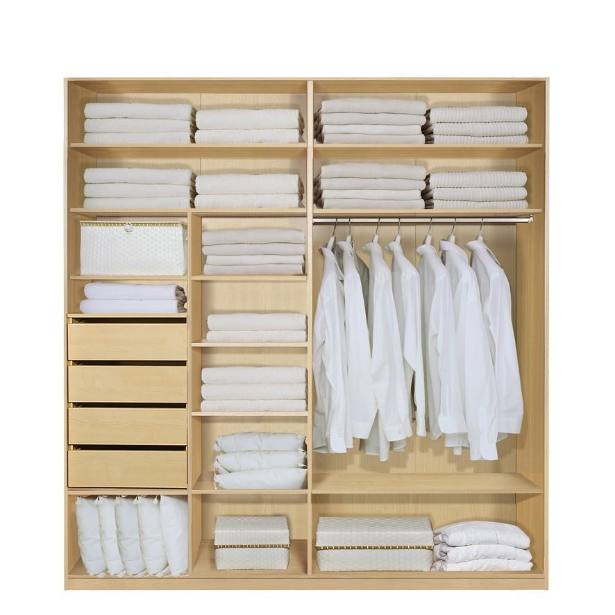 Komplett Set Inneneinrichtung OPTION 1 für Kleiderschränke 202cm – Schrankteilbreiten 102 / 100cm