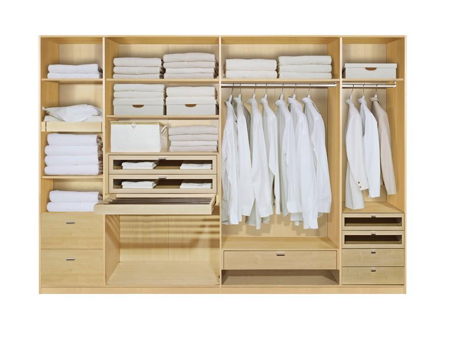Komplett Set Inneneinrichtung OPTION 10 für Kleiderschränke 302cm - Schrankteilbreiten 52 / 100 / 100 / 50cm