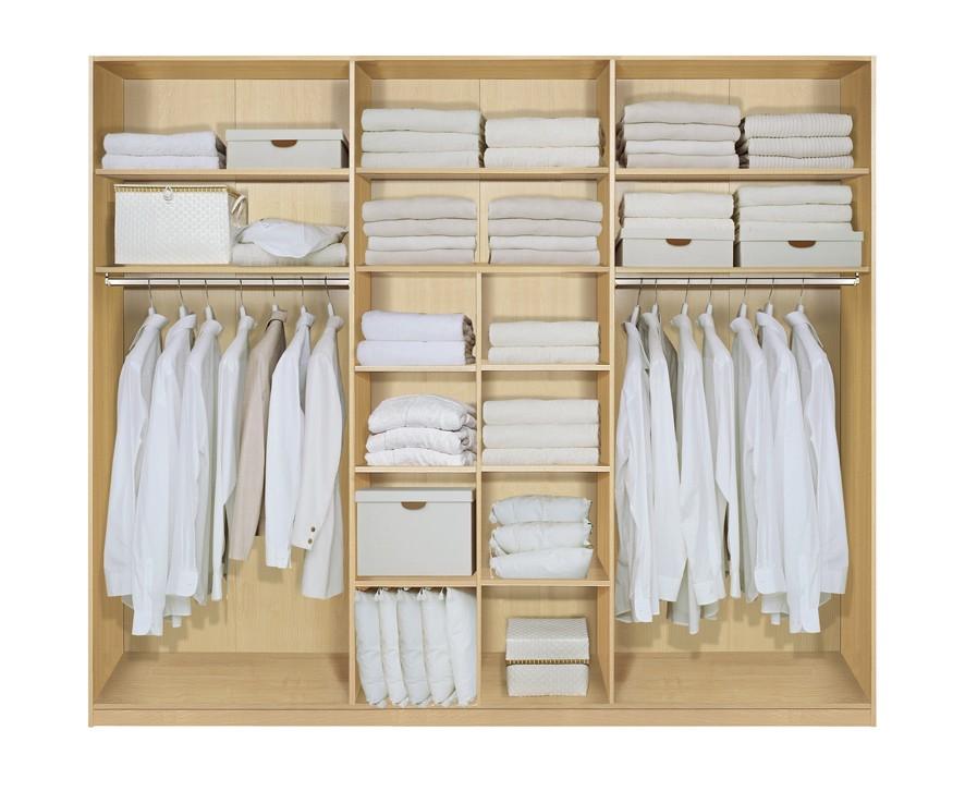 Komplett Set Inneneinrichtung OPTION 15 für Kleiderschränke 302cm - Schrankteilbreiten 102 / 100 / 100cm