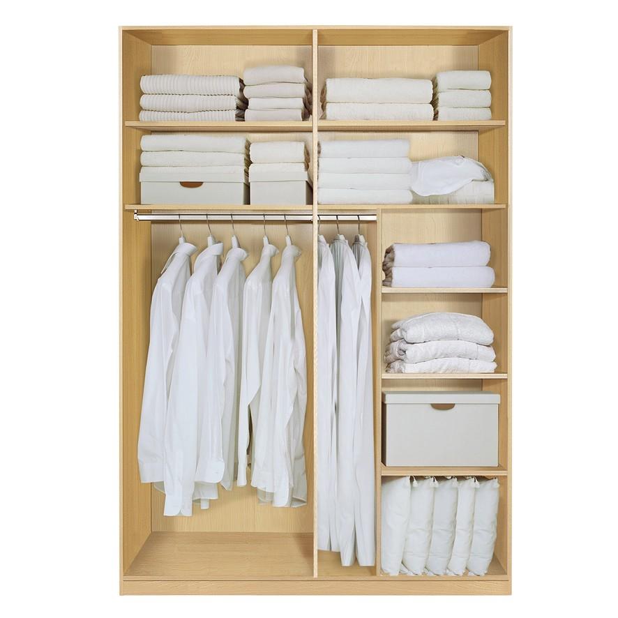 Komplett Set Inneneinrichtung OPTION 2 für Kleiderschränke 152cm - Schrankteilbreiten 77 / 75cm