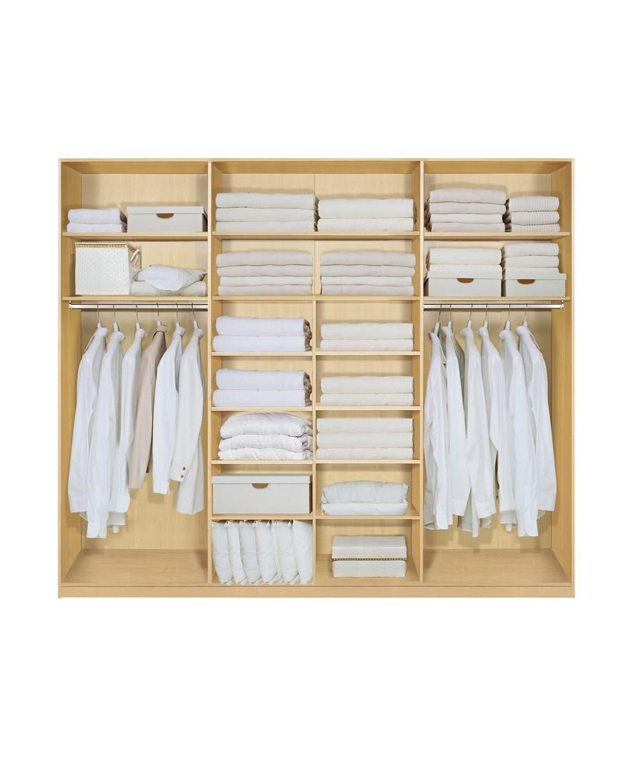 Komplett Set Inneneinrichtung OPTION 4 für Kleiderschränke 252cm - Schrankteilbreiten 77 / 100 / 75cm