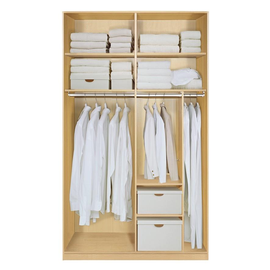 Komplett Set Inneneinrichtung OPTION 8 für Kleiderschränke 152cm - Schrankteilbreiten 77 / 75cm