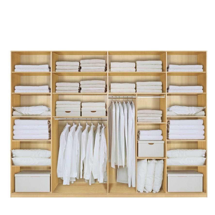 Komplett Set Inneneinrichtung OPTION 9 für Kleiderschränke 352cm - Schrankteilbreiten 77 / 100 / 100 / 75cm